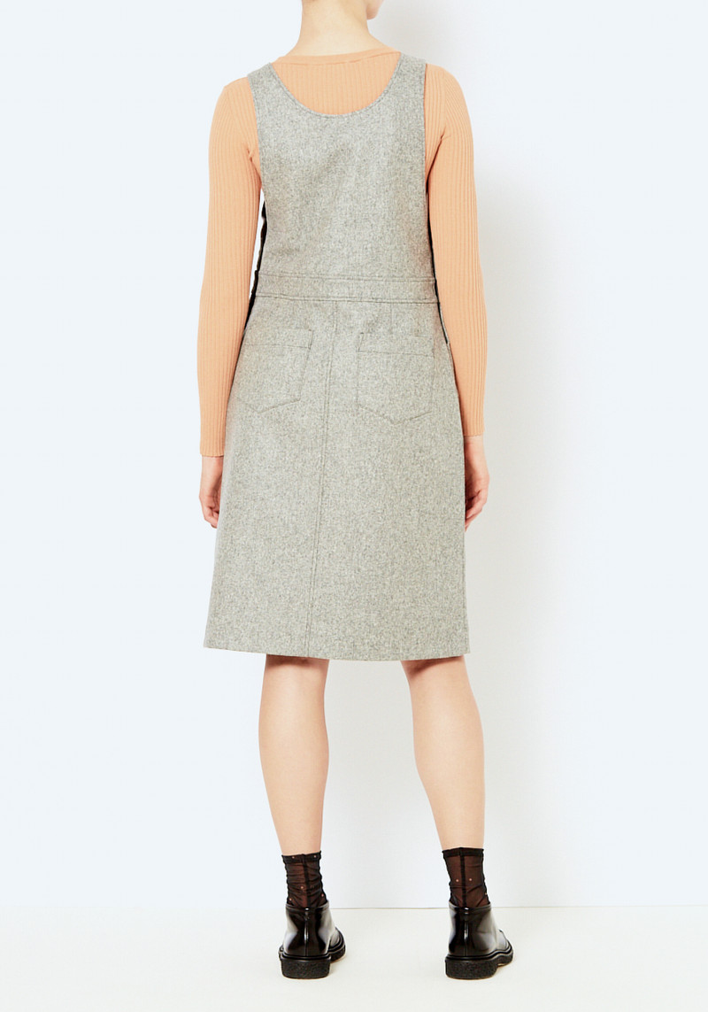 you must create gray wool overall dress