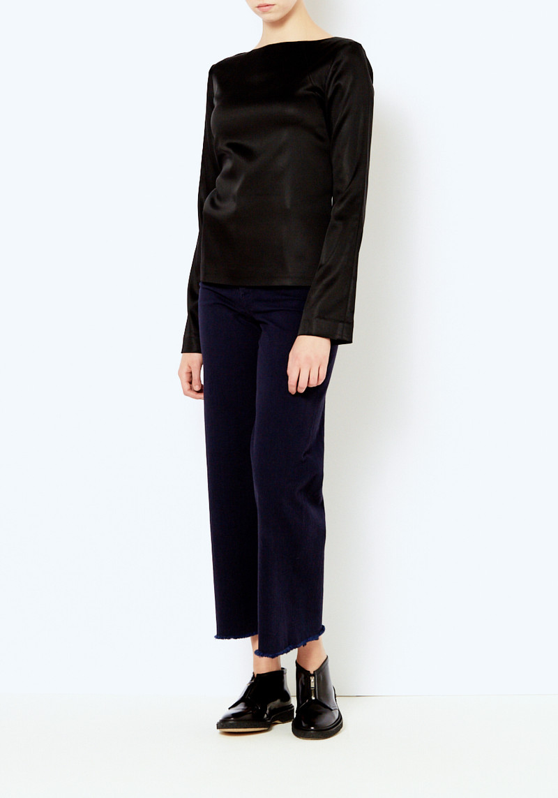 black toteme satin top with low deep v back
