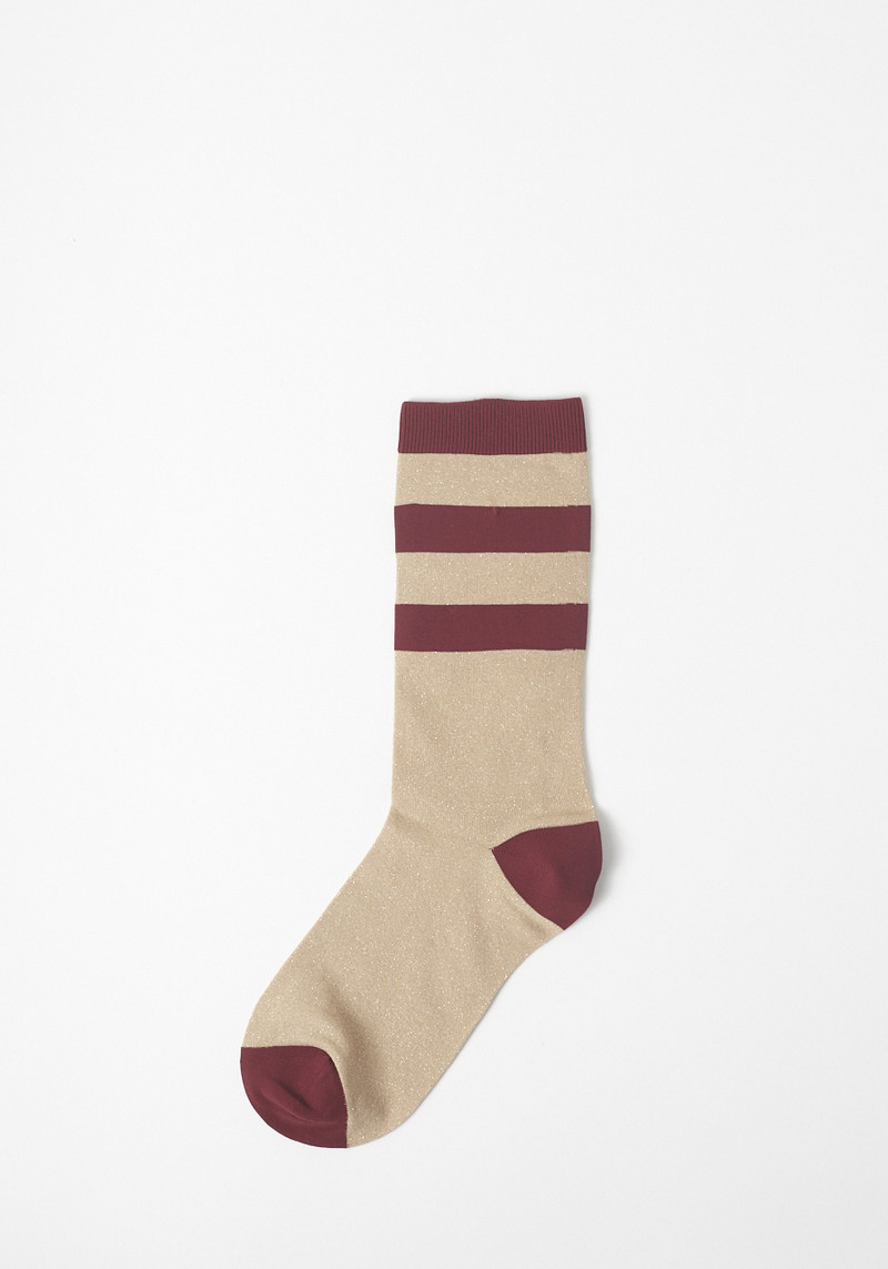Ganni Classon Burgundy Metallic Striped Sock