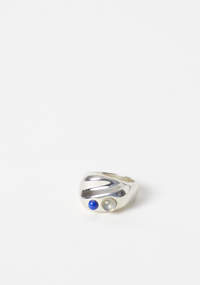 leigh miller silver statement ring with blue stones