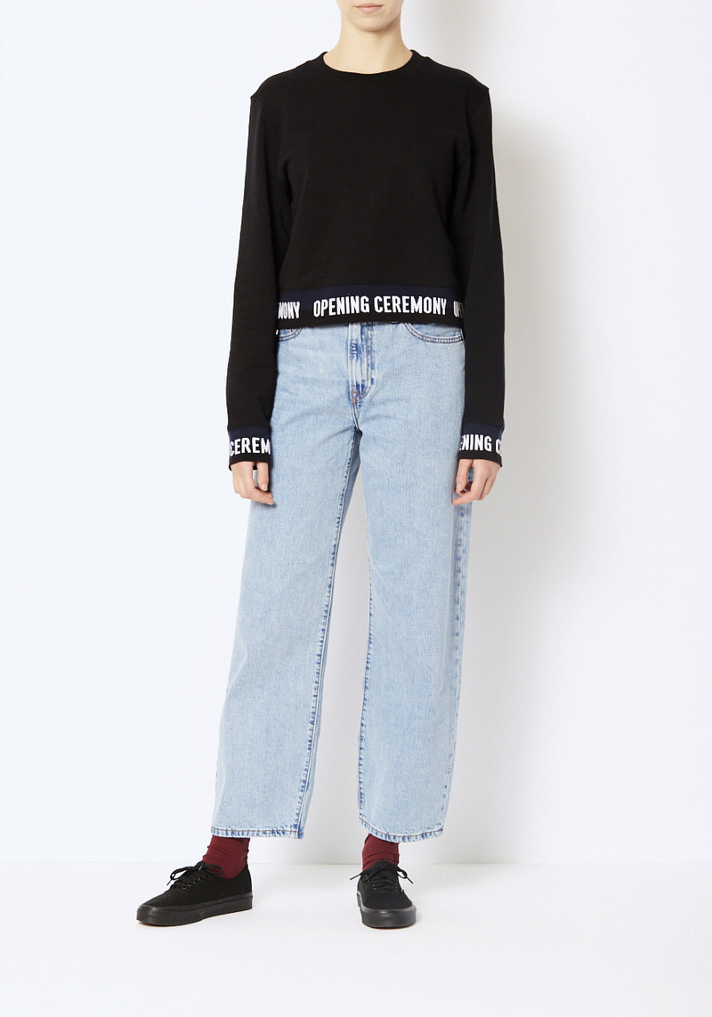 Opening Ceremony black cropped elastic logo sweatshirt