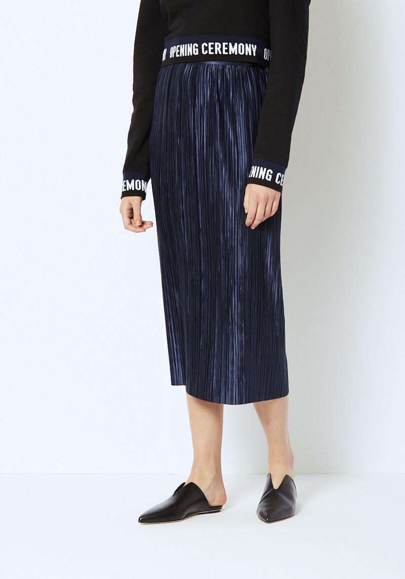 Tibi navy pleated midi skirt with zipper detail