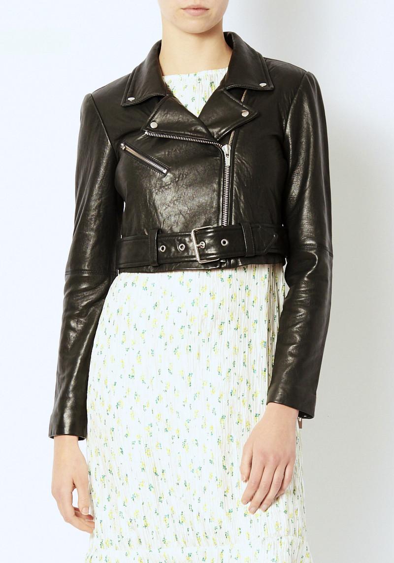 Veda black cropped leather moto jacket with belt