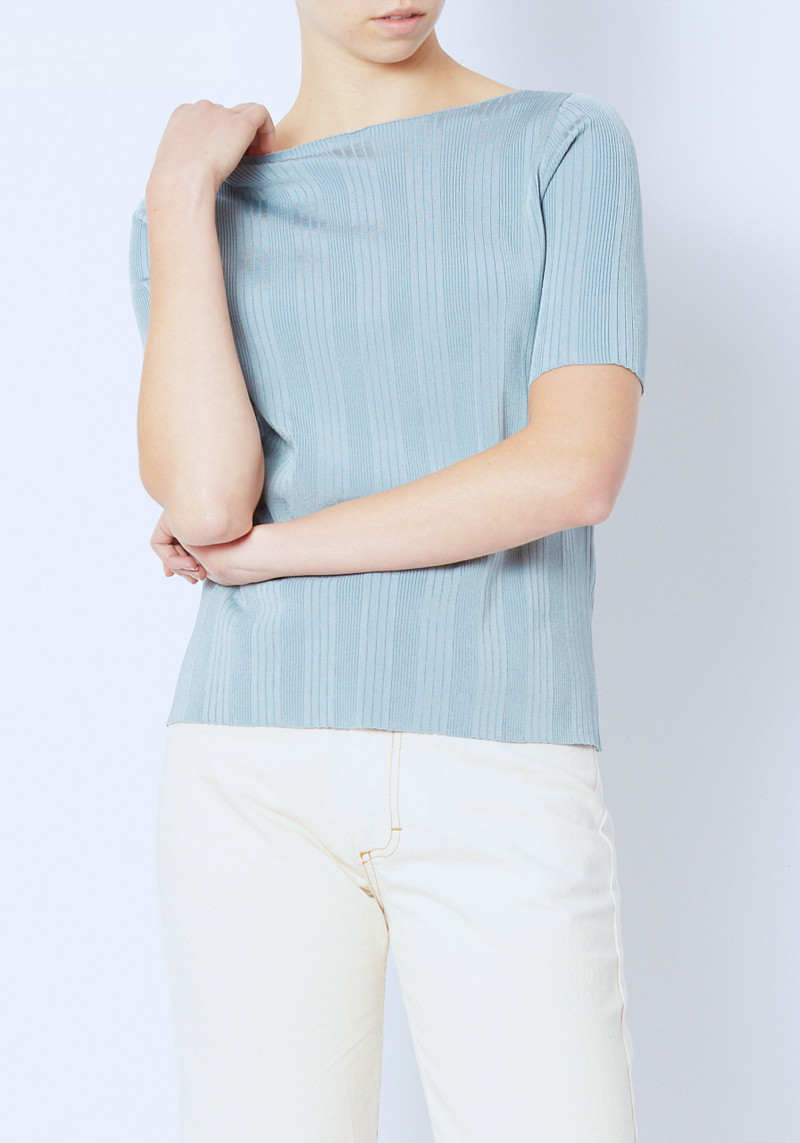 Demylee Guinevere Blue Ribbed Short Sleeve Sweater