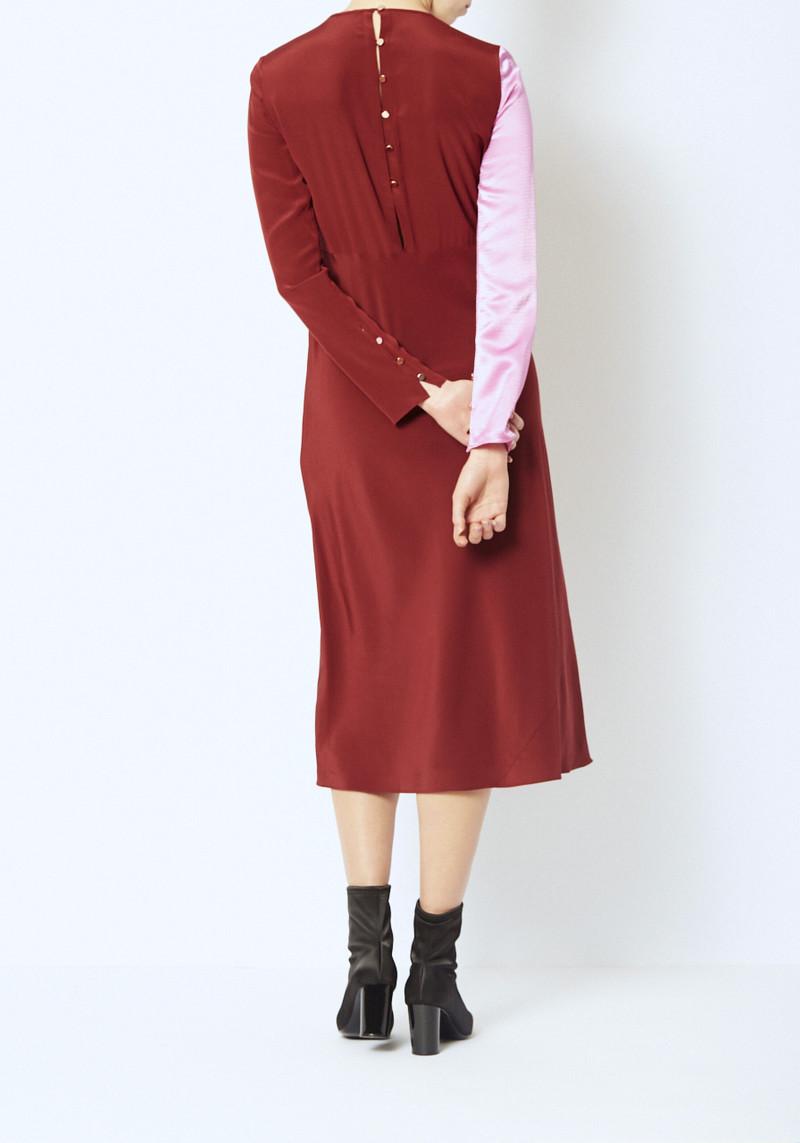 Tibi Colorblock Sleeve silk dress