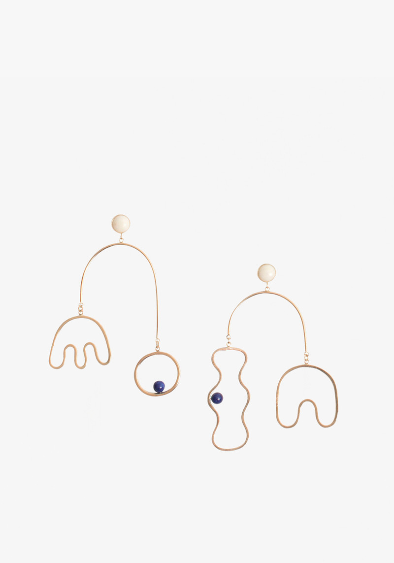 Wkndla gold mobile earring with lapis and bamboo