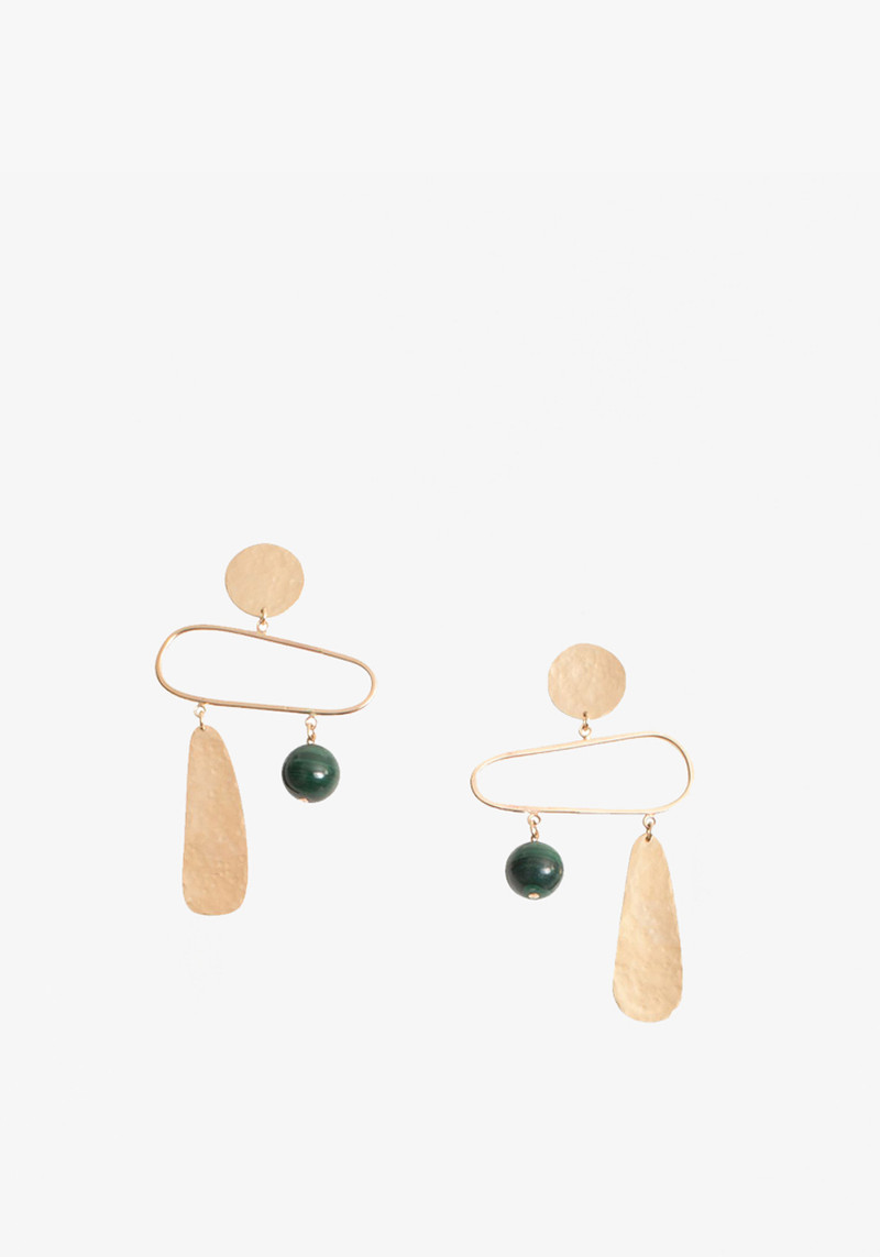 wnkdla drop earrings with green ball and gold pendant