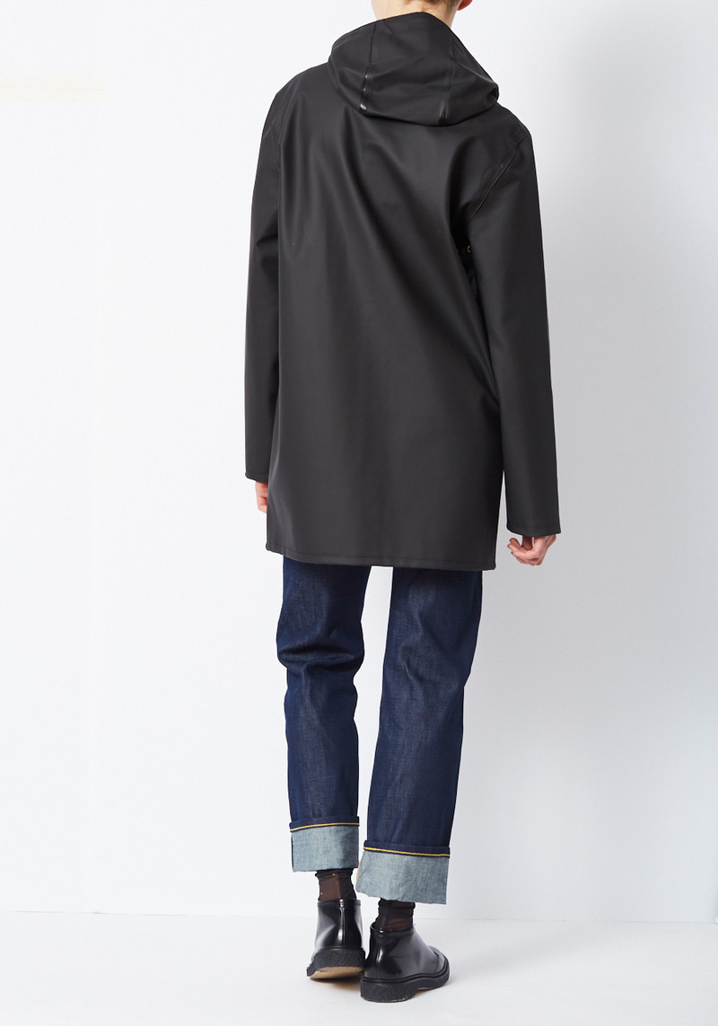 stutterheim black raincoat with buttons and hood from sweden