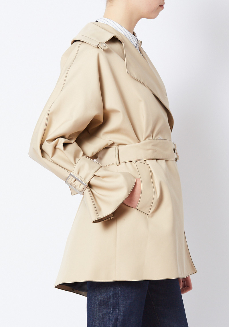 Opening Ceremony tan short trench coat with belt and cuffed sleeves