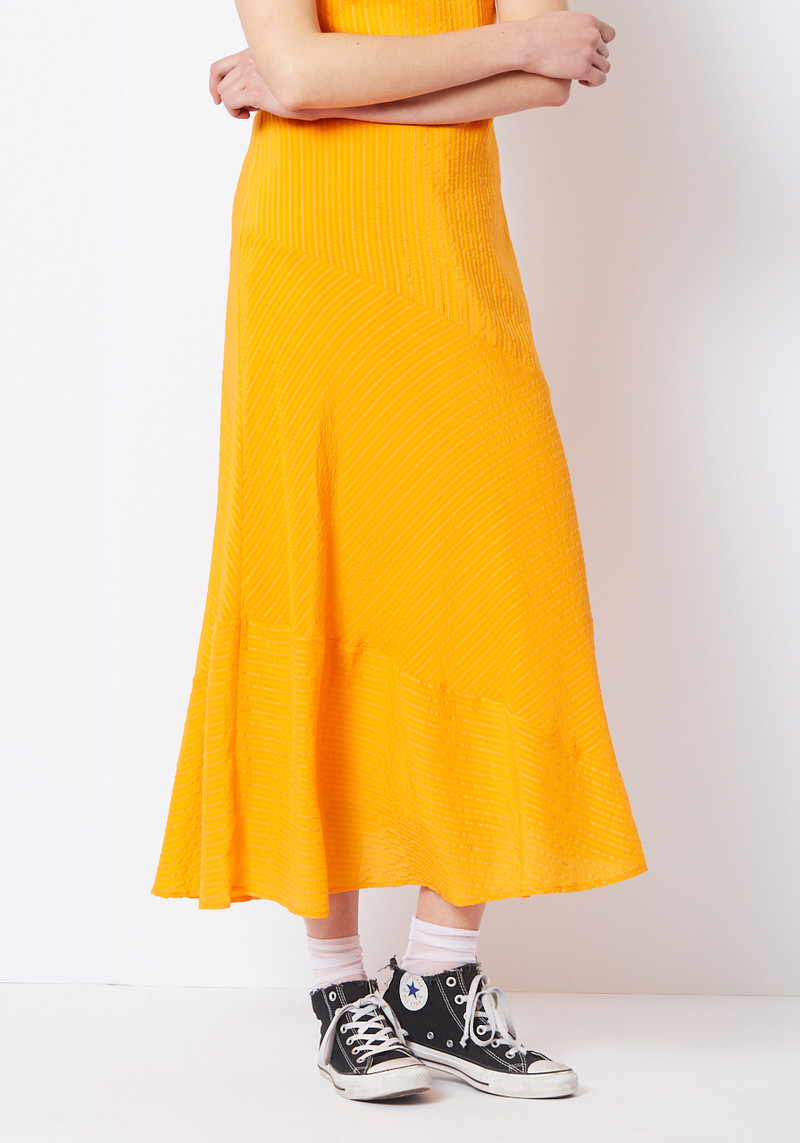 Ganni orange maxi symmetrical hem dress