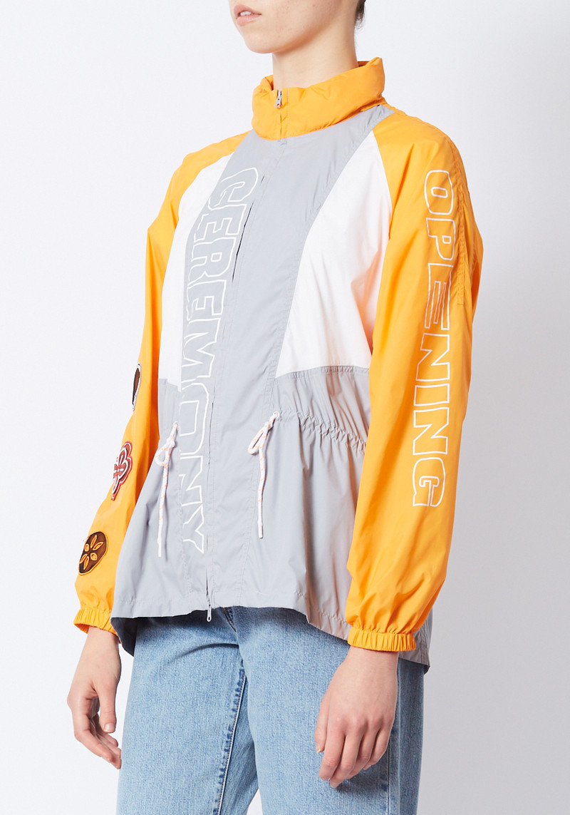 Open Ceremony orange and grey cinched waist wind breaker with hidden hood