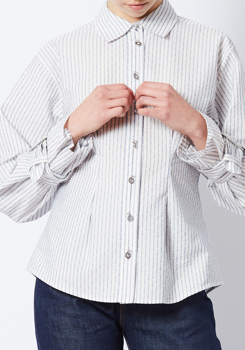 white Opening Ceremony logo button down with belted cuffs