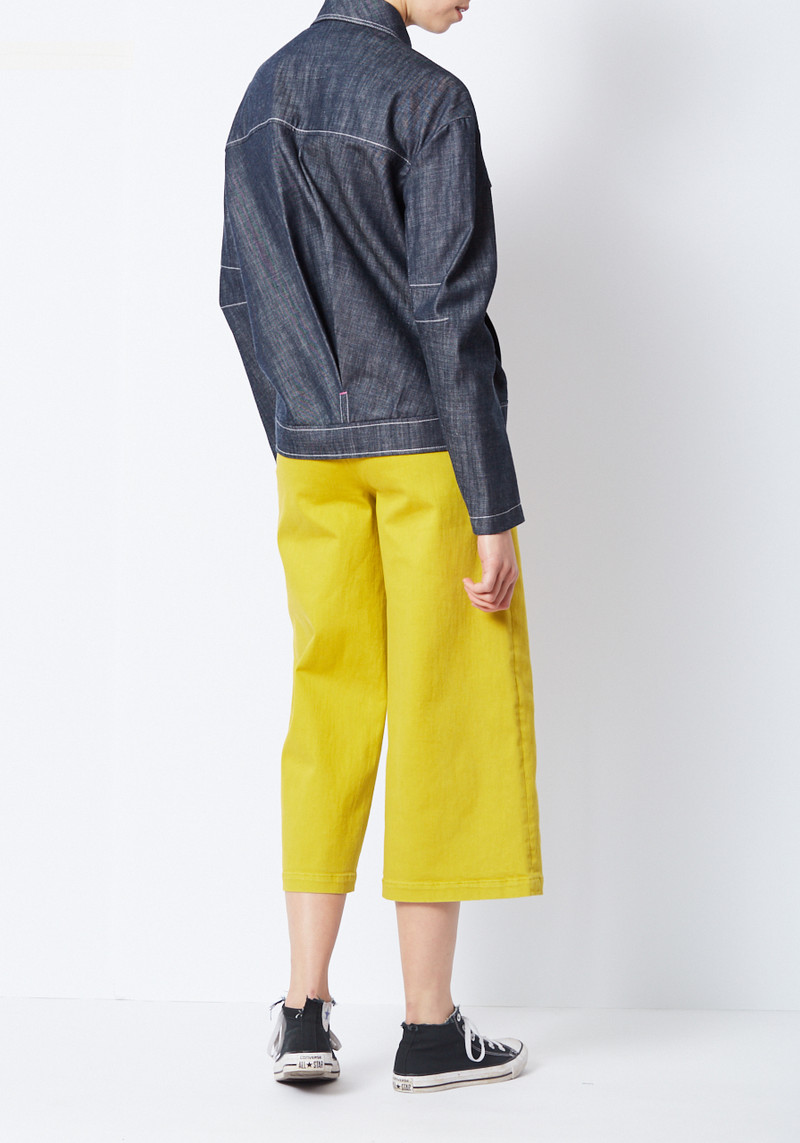 TIbi raw denim jacket with sculpted sleeves