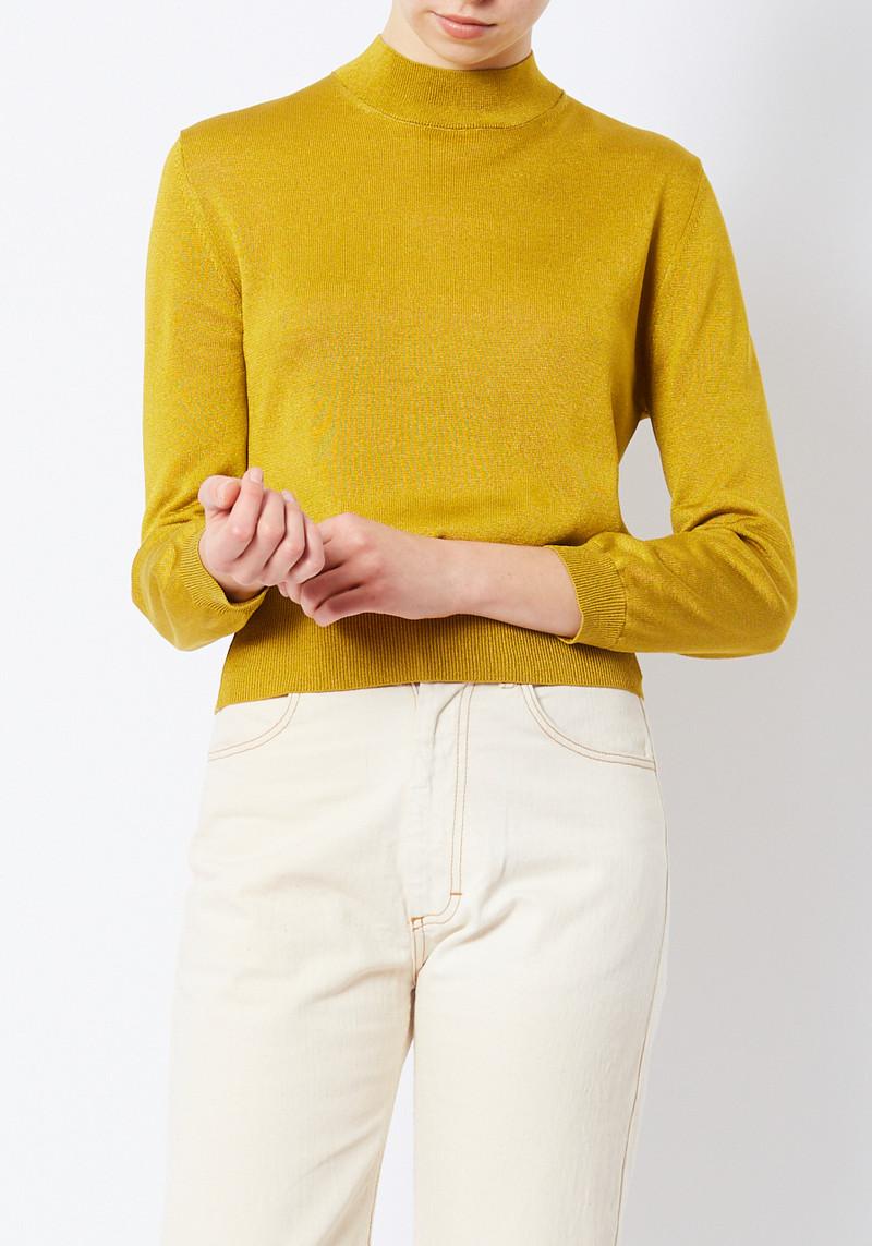 Tibi Mustard Crispy Viscose mock neck sweater