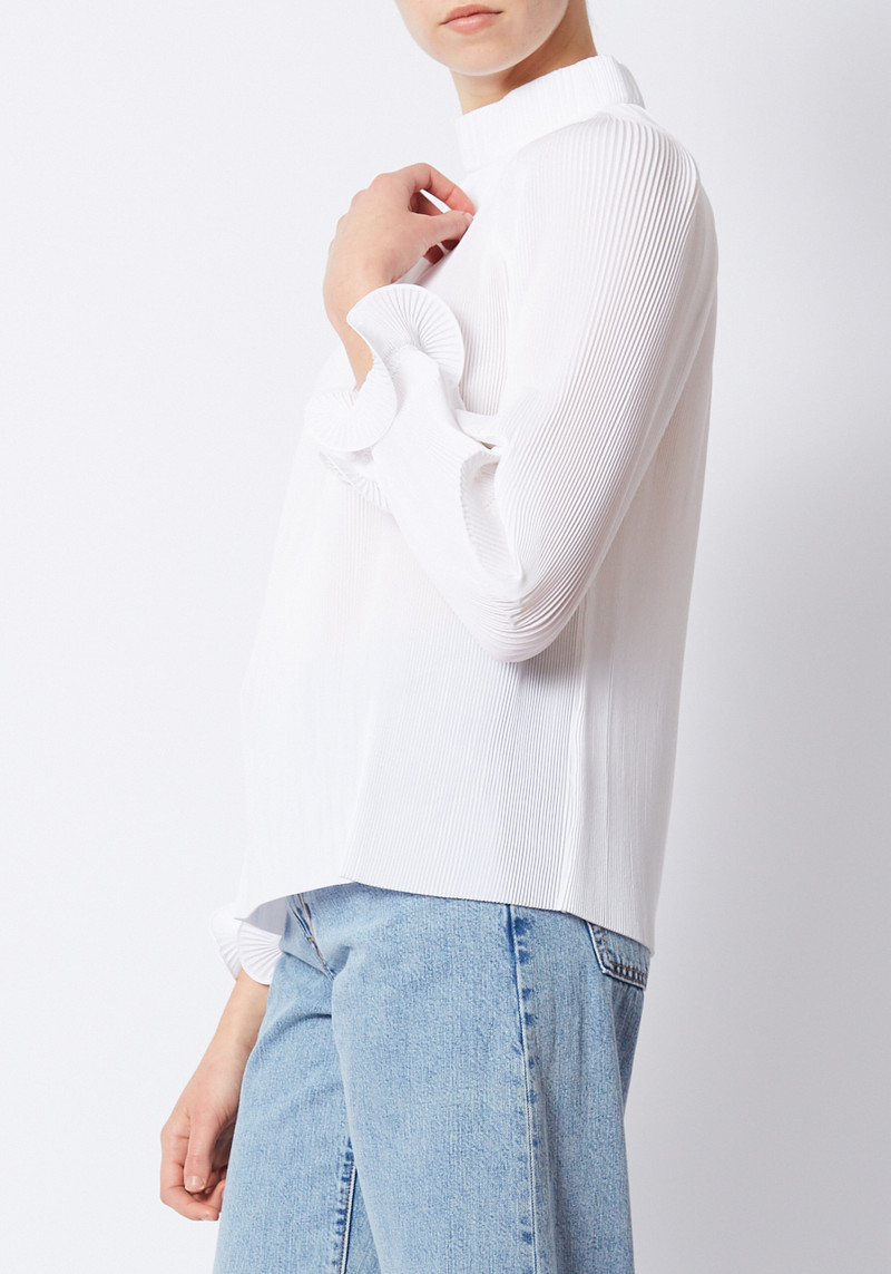 Tibi White Pleating Top with Ruffle sleeve detail
