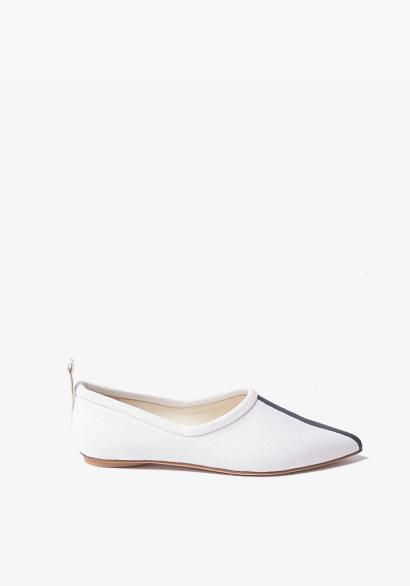 Tibi John white canvas Pointy Toed flats with black stripe
