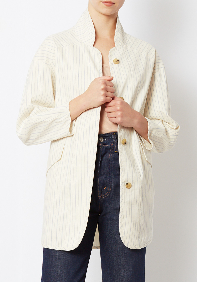 Creatures of Comfort Oversized Striped Duffey Jacket in Cream Stripe