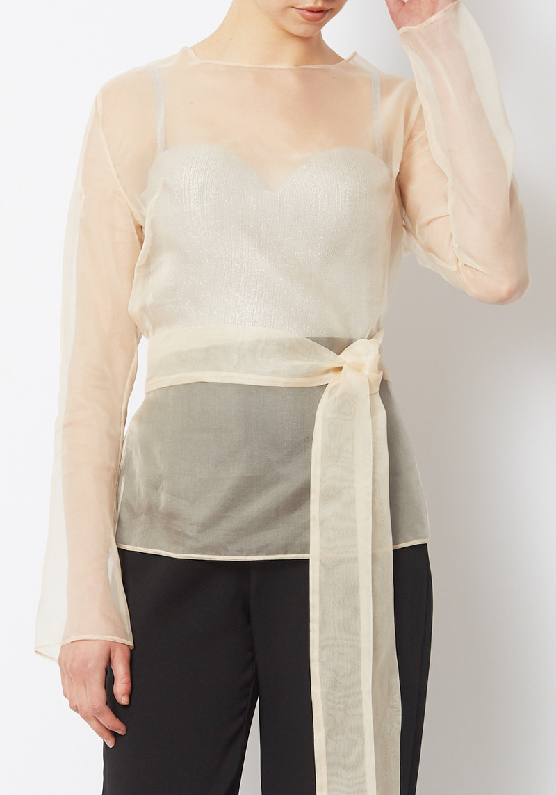 Paris Georgia sheer Cream Organza Alba Top