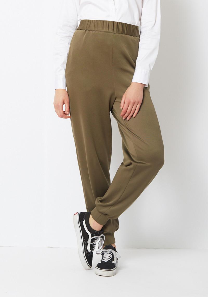 Tibi Khaki Green Slim Knit Jogger Pant