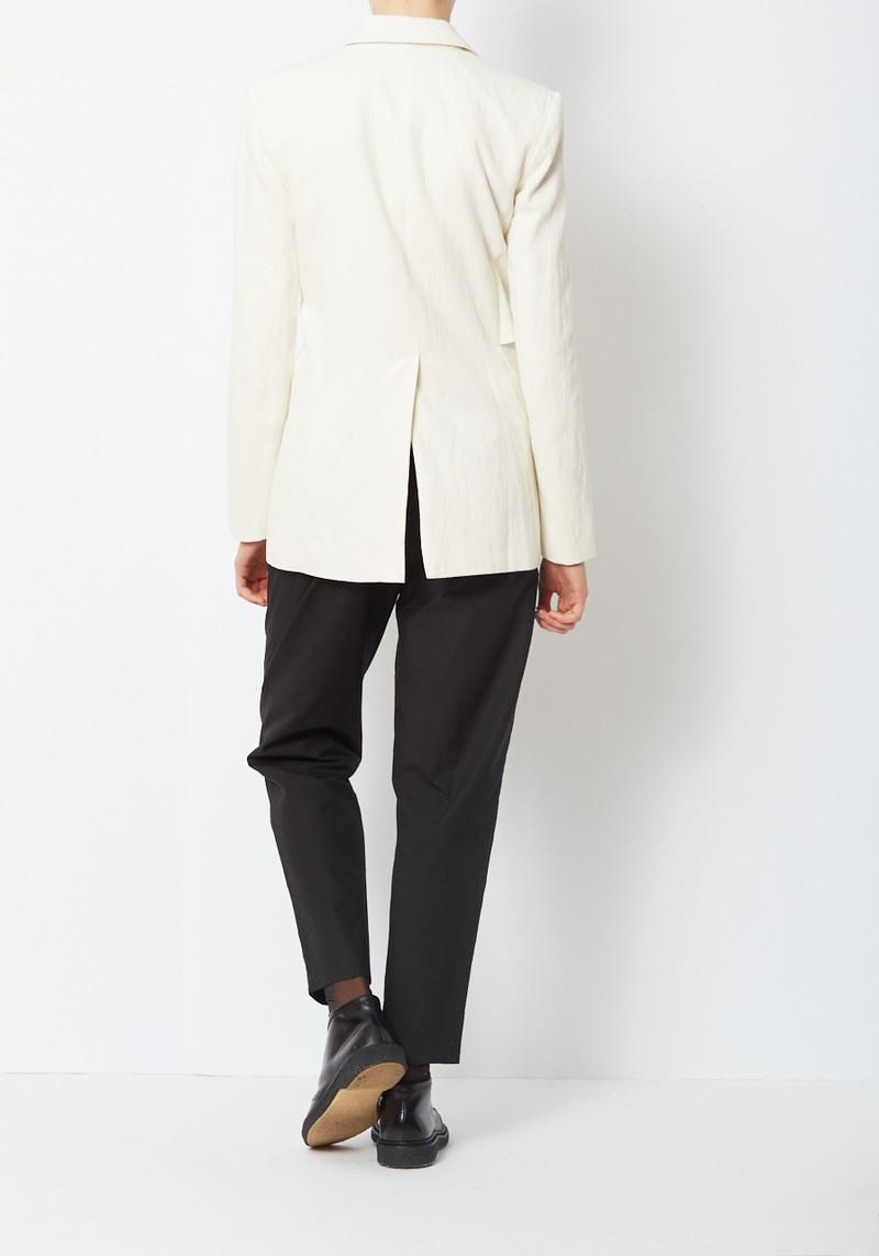 Tibi Cream Delancey Flap Blazer with sculptural Buttons