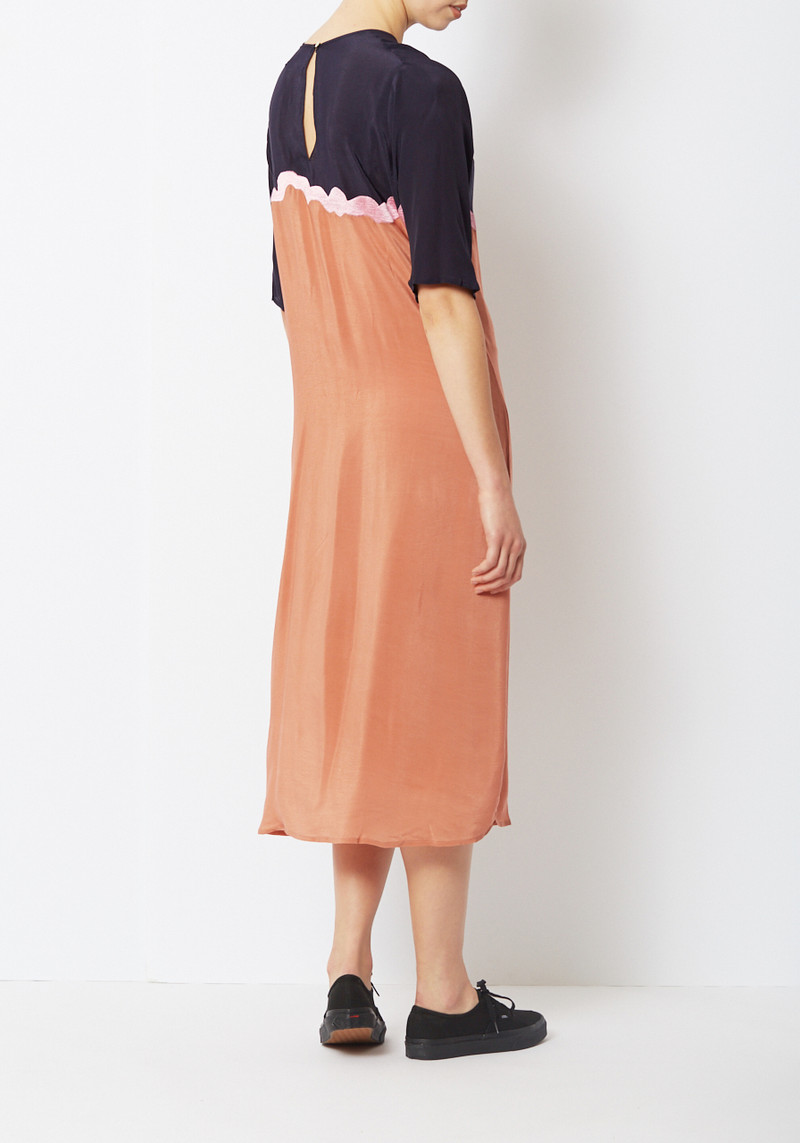 Nikki Chasin Silk Embroidered Squiggle Dress