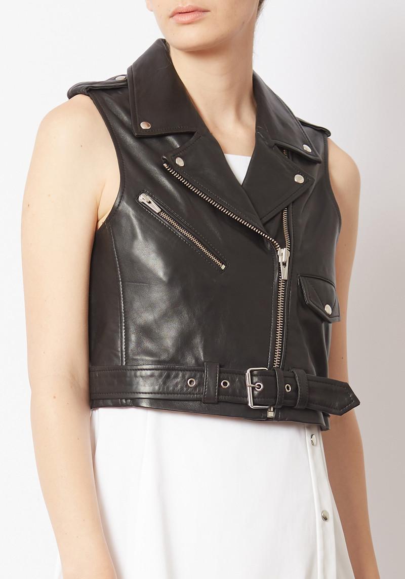 Veda black leather brazil moto vest