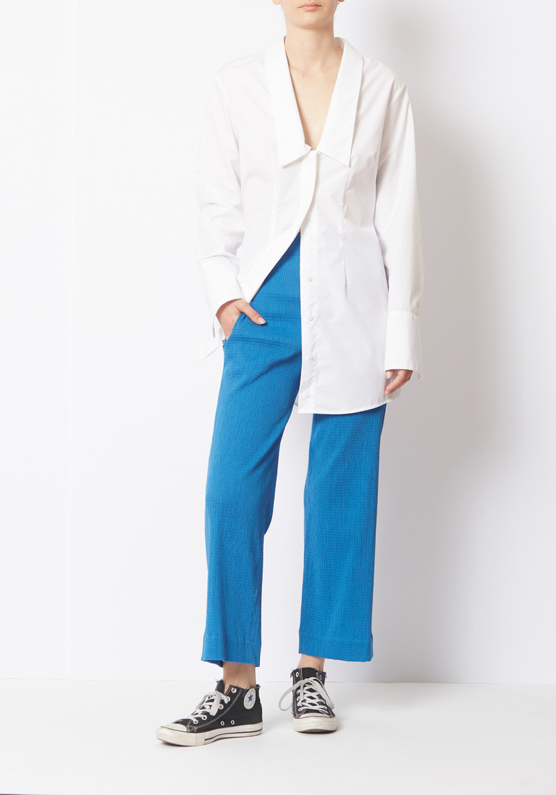 Her Line Bright Blue Shirred Voile Pants