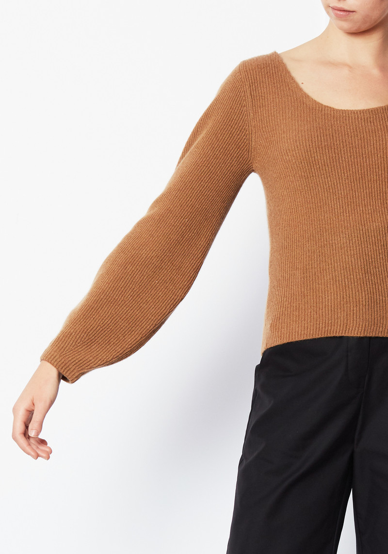 Demylee Ribbed Cropped Cashmere Kenzie Sweater