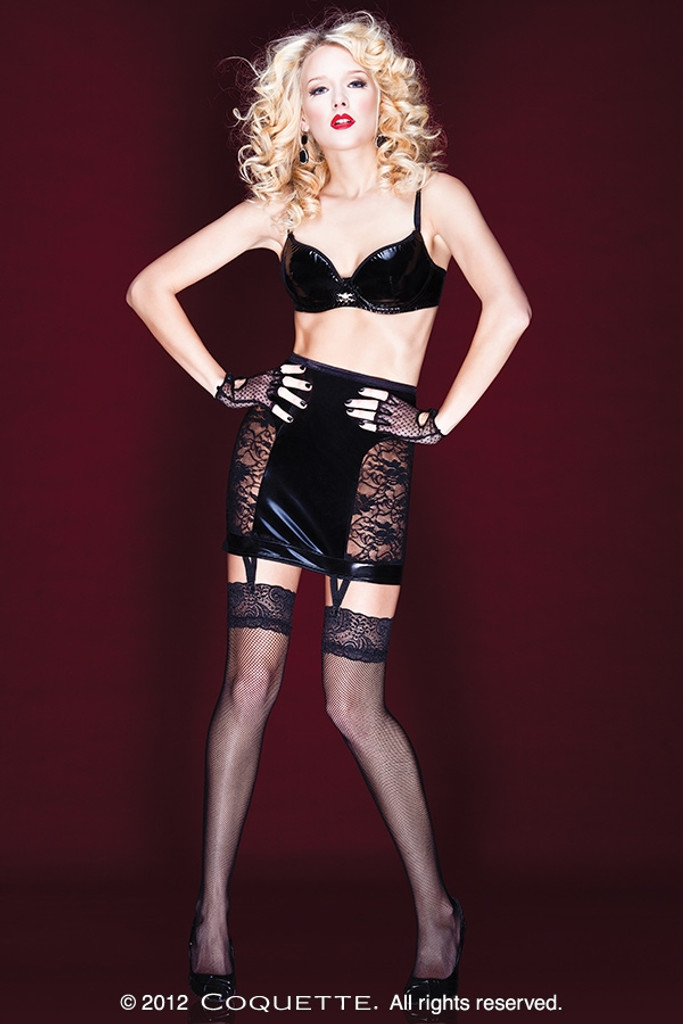 Wet Look Garter Skirt w Lace Panels & Lace Up Back