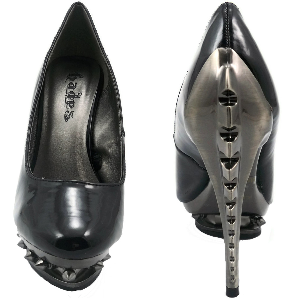 Pump w Skeleton Heel & Spiked Rivets - 5 Color Options