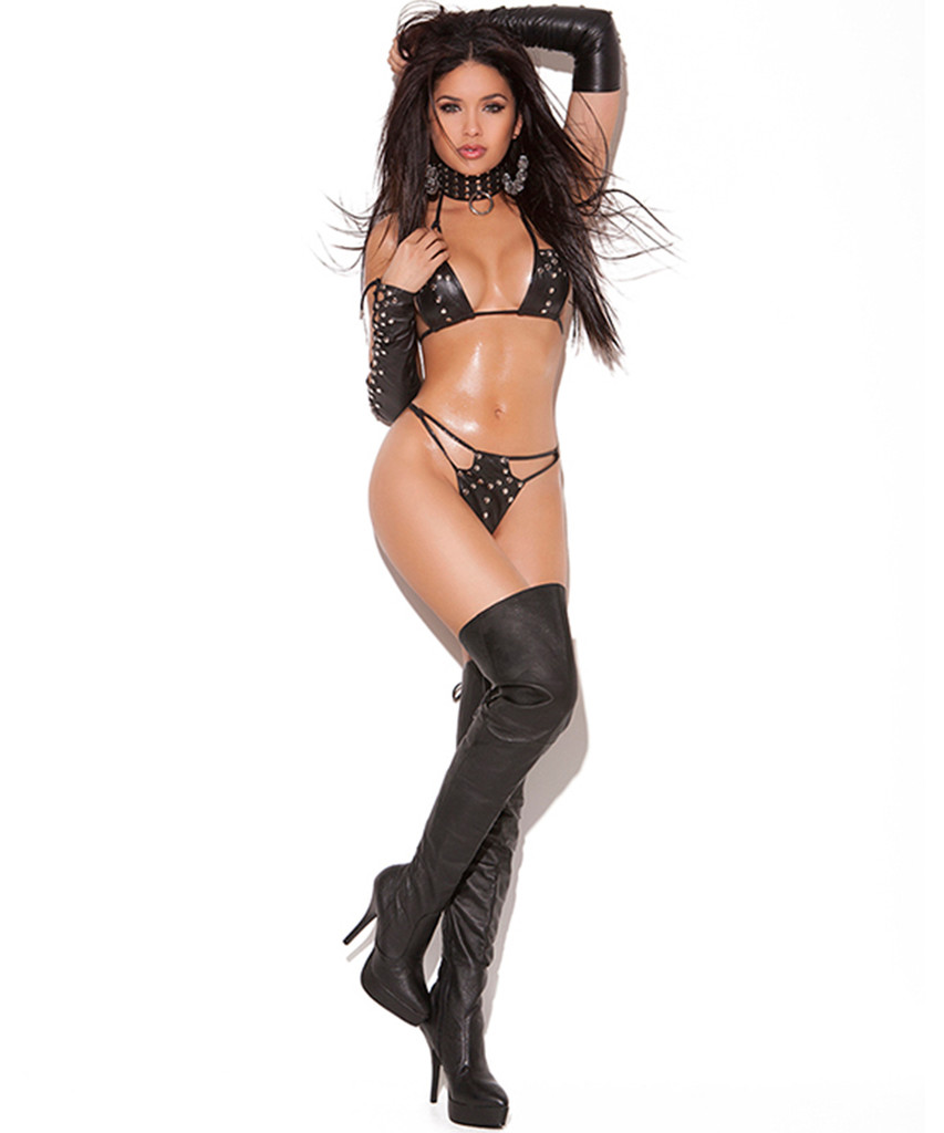Leather string bra, g-string, gloves set