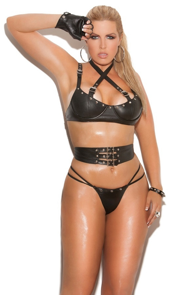 Leather Bra, Waist Cincher and Matching Panty - O/S, XL