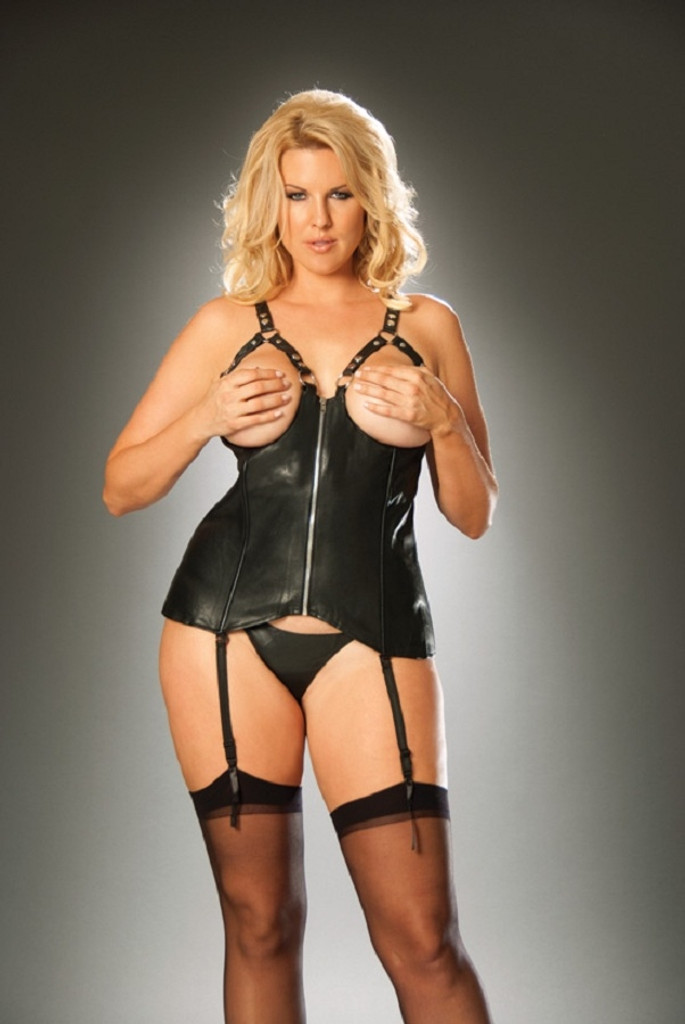 Open Cup Leather Corset w Zipper Front - Sizes 32 to 44