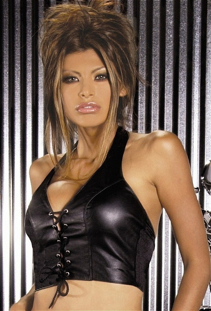 Leather Halter Top Bustier w Lace Up Front - Sz S - L
