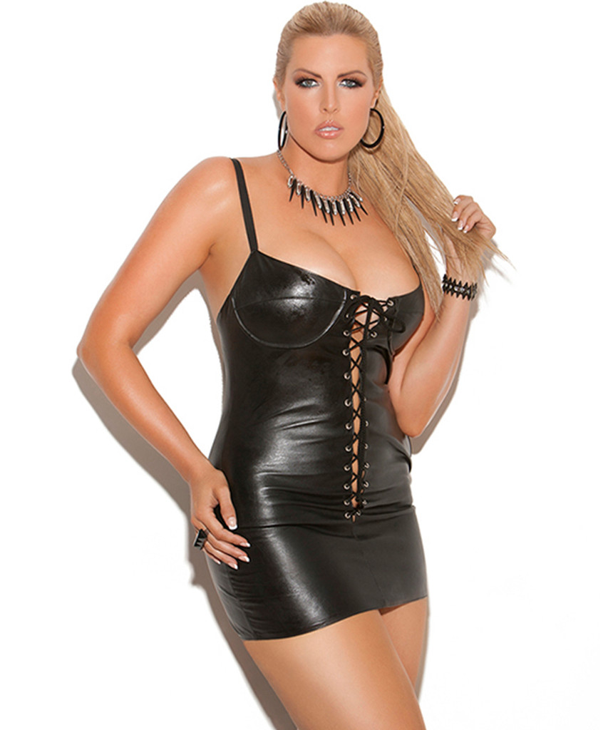 Lace Up Leather Mini Dress - Sizes Small to 3X