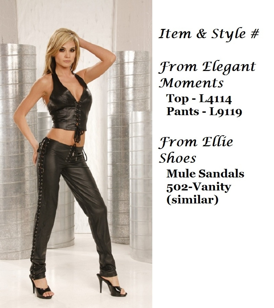 Leather Pants w Lace Up Sides & Back - Sizes Small to 3X