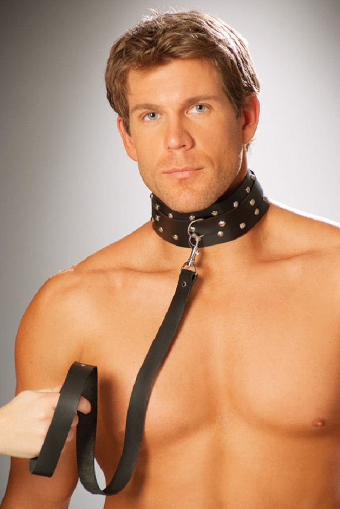 Leather collar w studs and O ring