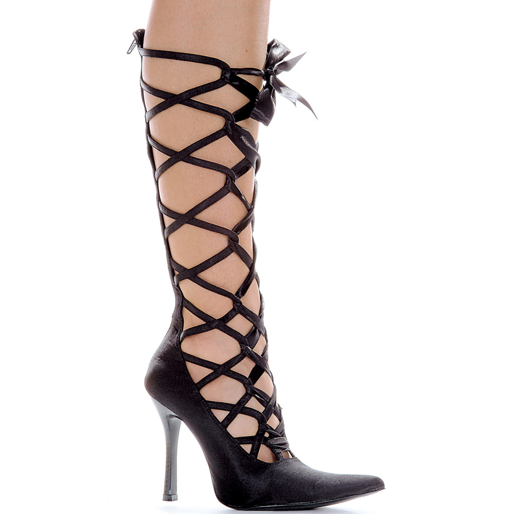 """4"""" Satin Heel Shoe with Ribbon Laceup and Back Zipper - SALES PRICE - CUT 50%! Sz 7-9 Only"""