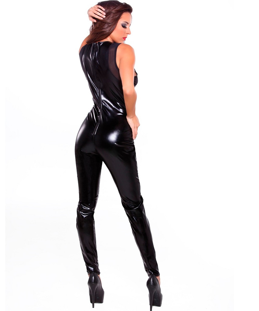Wet Look and Mesh Sleeveless Catsuit - Size O/S