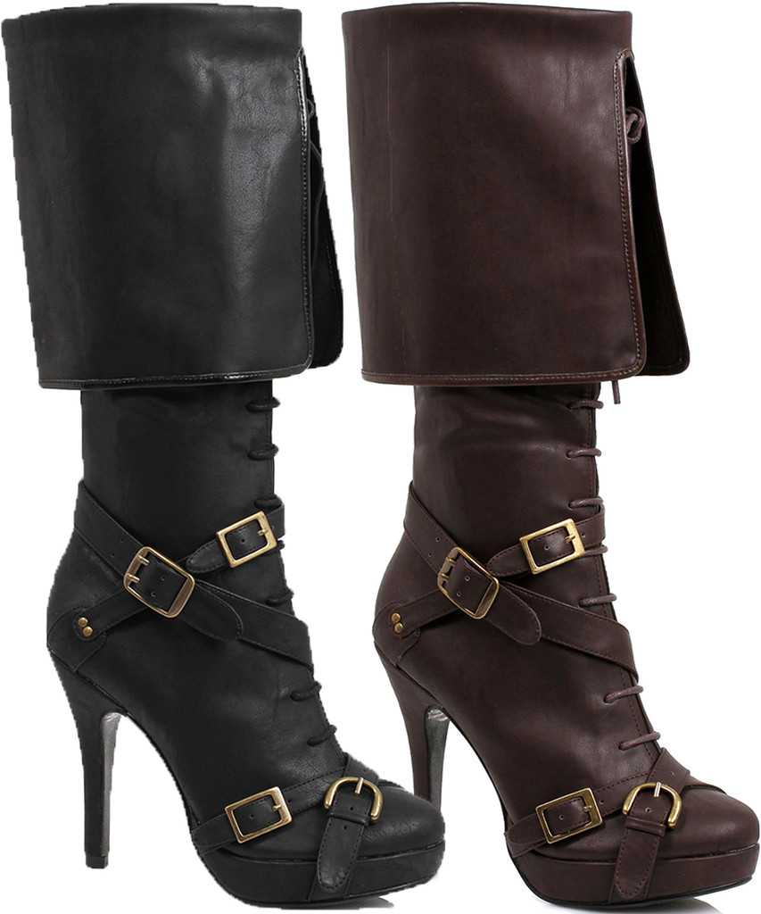 """4"""" Heel Knee High Boot with Criss Cross Straps and Buckles - Sizes 5 to 12"""