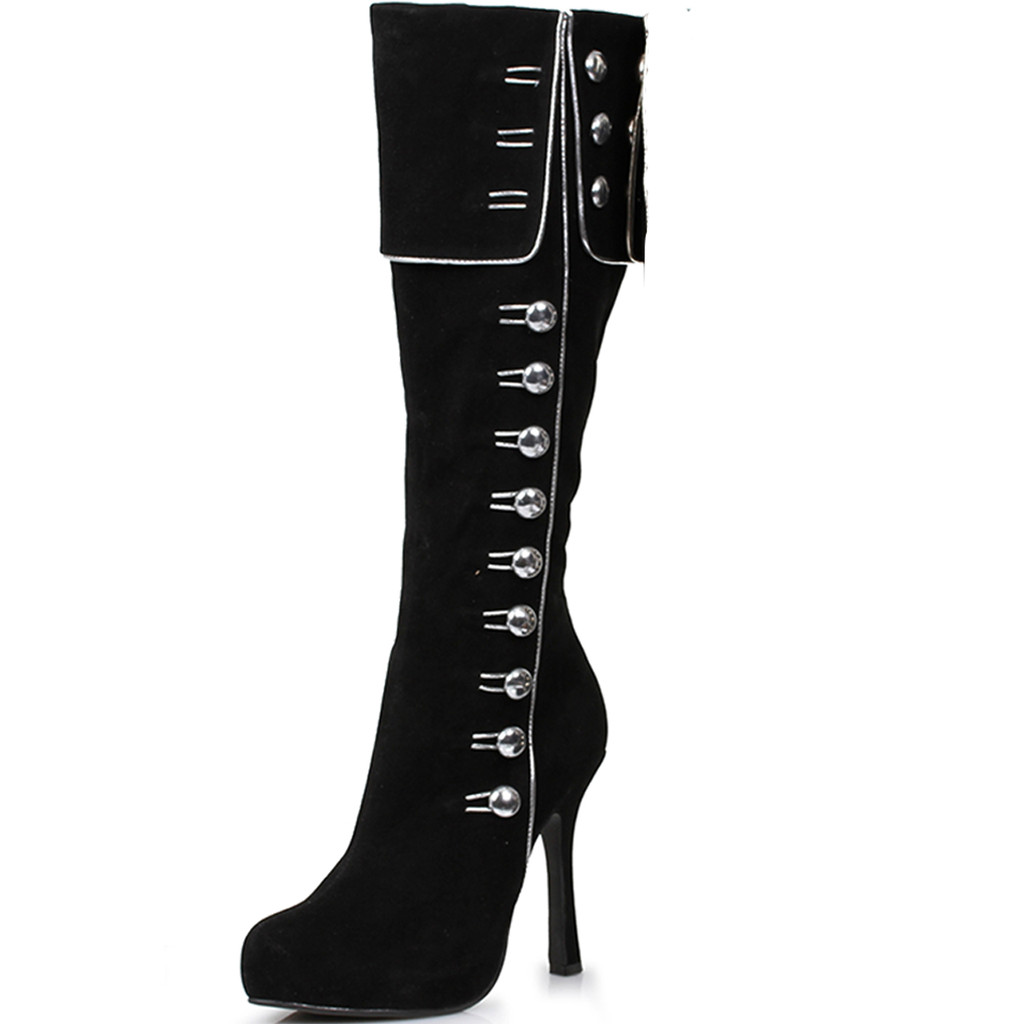 "4"" Heel Knee High Boot w Side Button Detail - Sz 6-10"