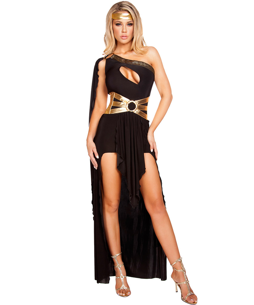 Georgeous Grecian Goddess Costume - Black - Front -  © 2016 Roma Costumes, Inc.