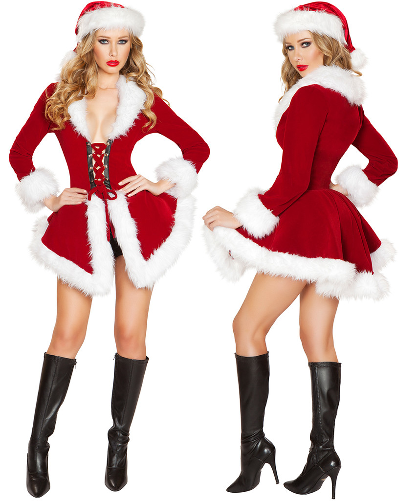 Santa Chic Set - Red w White Trim - Front / Back -  © 2016 Roma Costumes, Inc.