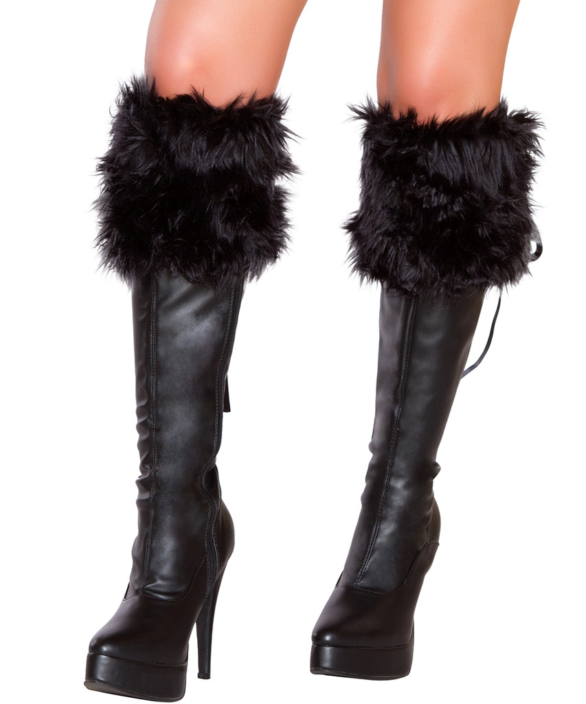 Pair of Faux Fur Boot Cuffs - BLACK - Genuine Roma Product