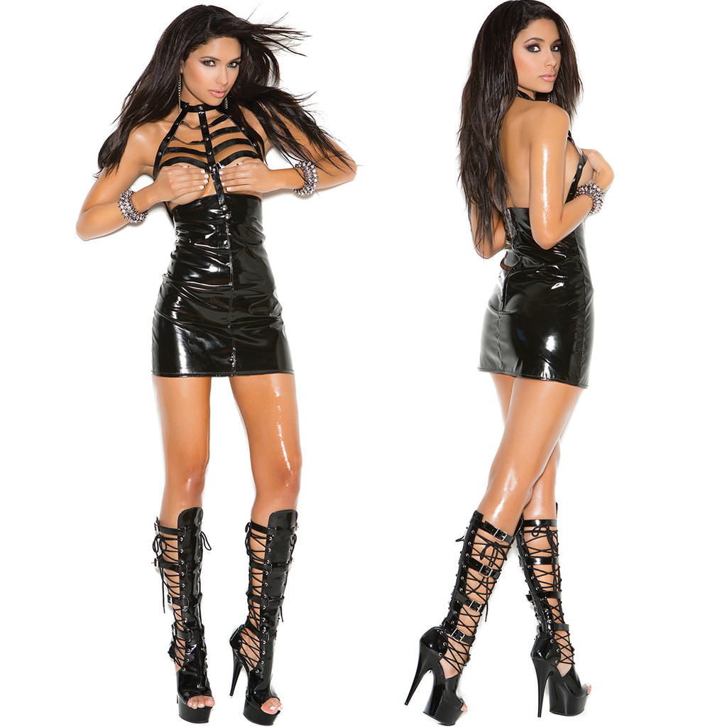 Vinyl Cupless Mini Dress w Caged Neck & Zipper Back - Sz S - XL