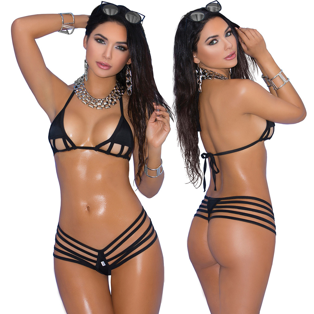 Black Lycra Bikini Top & Matching G-String - O/S