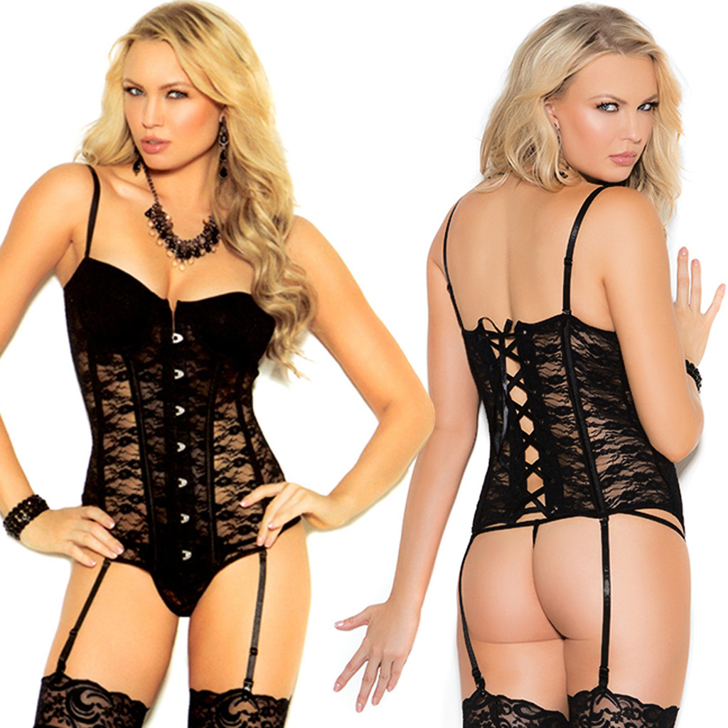 Bustier w Matching G-String - White or Black - SEE VIDEO!  Sz 32-44