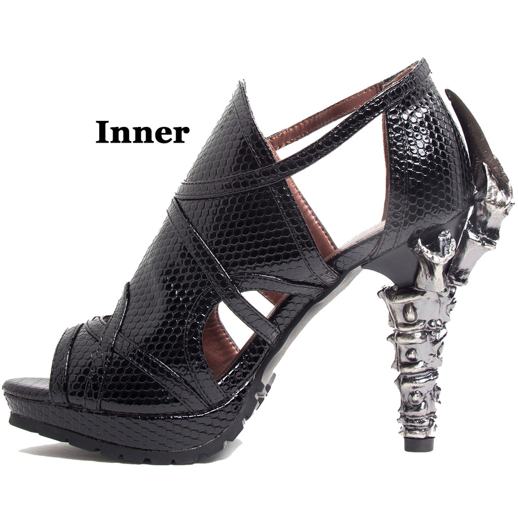 Snake Skin Open Toed Sandals in Black or Red - Sz 6-11