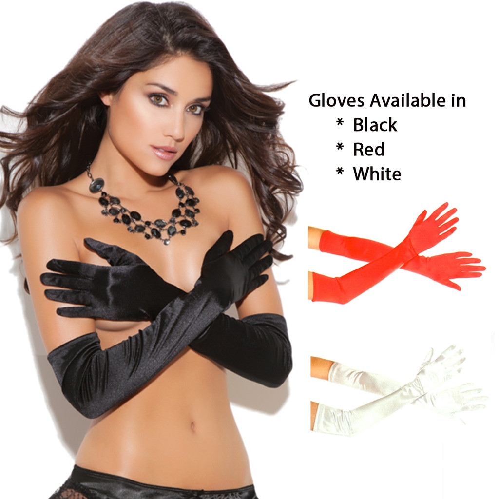 Satin Opera Length Gloves in Black, Red or White - O/S