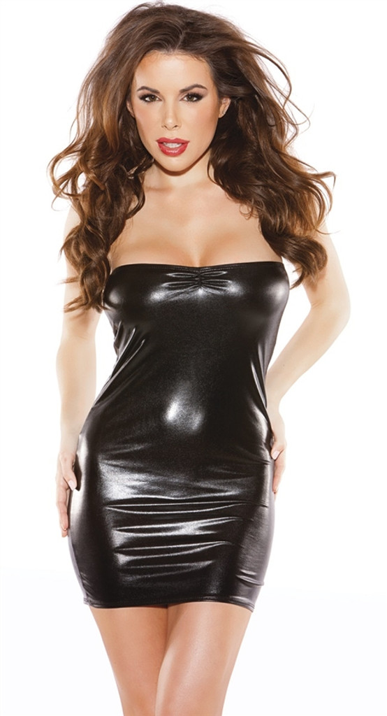 Strapless Wet Look Mini Dress